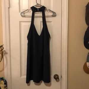 Navy open back, deep v dress